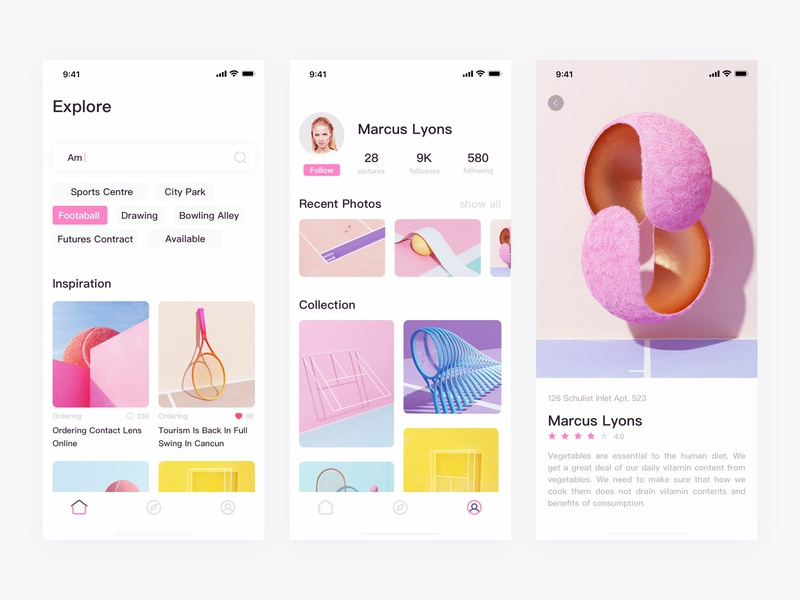 Social contac icon ux design app ui