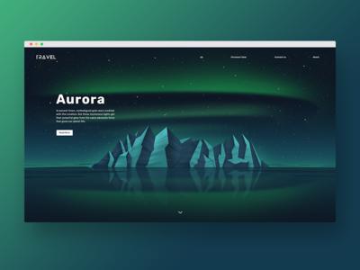 The love of Aurora mountain design web travel aurora green blue illustration
