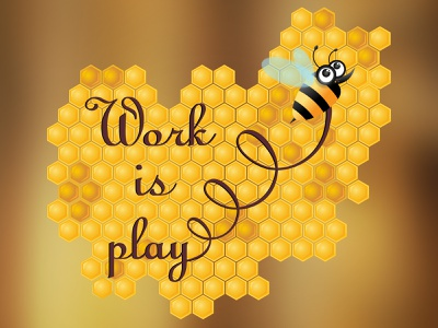 Bee work is play play work yellow fly yummy wing nature sweet animal insect cute honeybee flying honeycomb honey bee vector illustartion design art