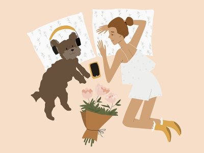 Girl and dog lie on the bed headphones phone woman young teen pet art illustration female friends friendship cozy at home animal flowers pillows bed cute girl dog