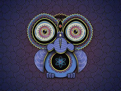 Purple owl night symbol wisdom cute wings surreal dark bird animal illustration art psychedelic purple eyes owl