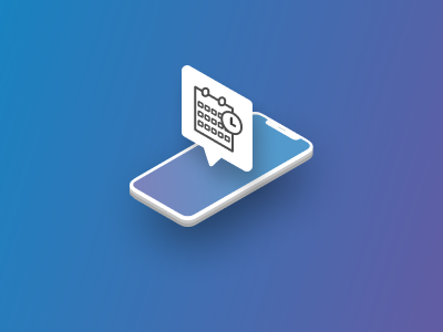 Appointment Notification message email app concept isometric ui design