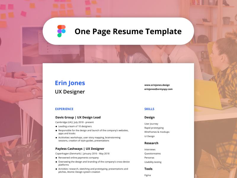 One-Page Resume Template - Figma Freebie by Maria Teresa ...
