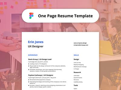 One-Page Resume Template - Figma Freebie free job one page curriculum freebie template resume cv figma