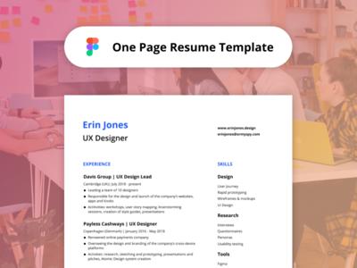 One-Page Resume Template - Figma Freebie