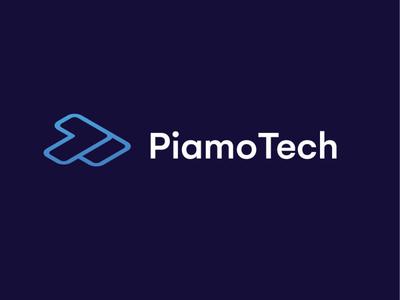 PiamoTech minimal flat illustration design branding vector brand logo pt logo brilliant technology tech logo