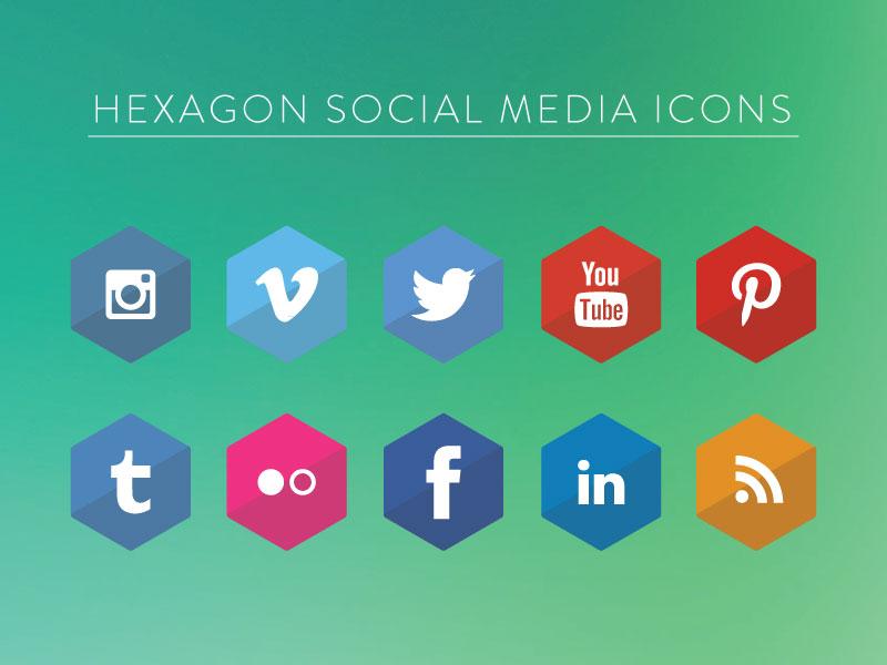 Hexagon Social Media Icons icons vector free socialmedia hexagon download eps