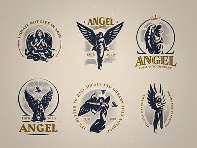 Angel emblems set heaven bird angel