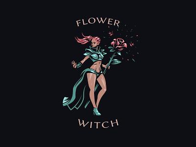 Flower witch fairy witch flower design logo woman