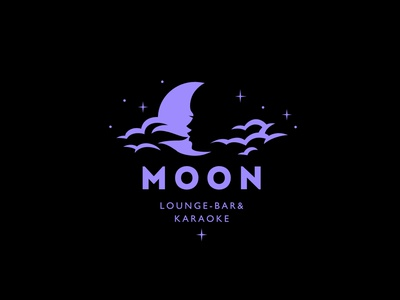 Moon restaurant bar hookah woman design logo stars sky smoke cloud moon