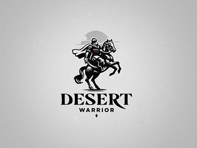 Desert warrior horse warrior rider taureg logo