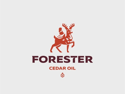 Logo for Forester cone oil cedar elf deer logo