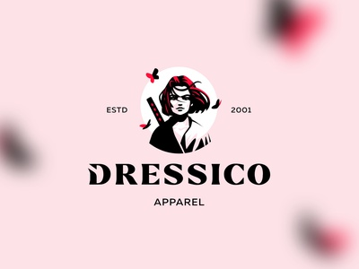 Logo for Dressico logo sword samurai woman clothes apparell