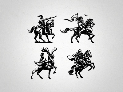Complete set of illustrations of all riders. horseriding riders