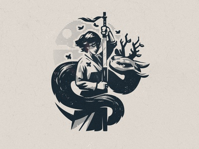 Illustration for Dressico dragon samurai print illustration