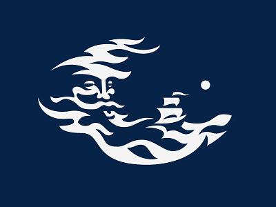 Poseidon design logo ocean ship poseidon