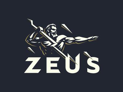 Zeus design logo storm beard athlete sparks god lightning