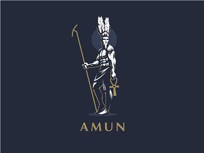 ☥ Egyptian God Amun. vector mythology logo illustration amun ankh feather graphics gods egyptian egypt design