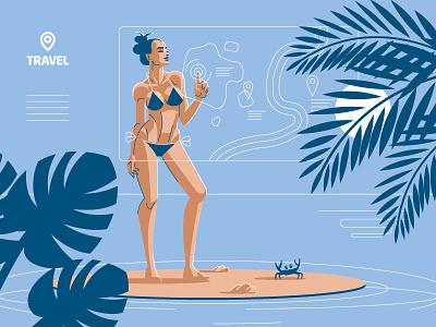 Travel Agency Illustration interface map bikini beach woman agency travel