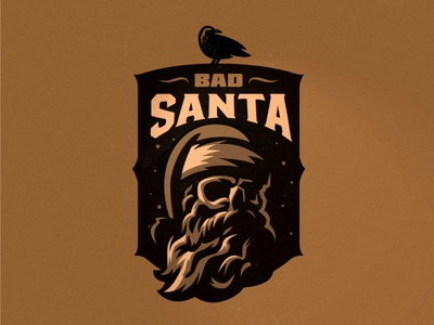 Bad Santa badgedesign badge skull logo crow skull badsanta santaclaus happynewyear