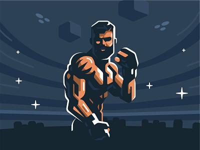 MMA fighter mma man vector art illustration fighter