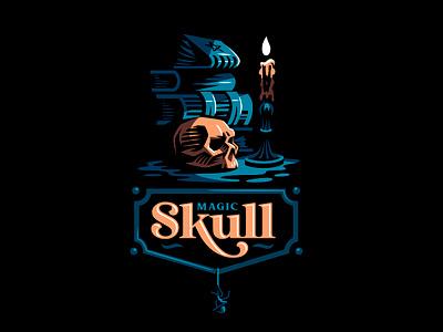 Magic skull magic spider books candle skull