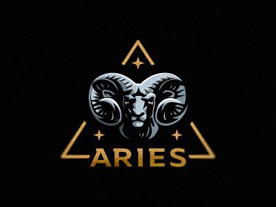 Aries logo zodiac star logo ram bighorn aries