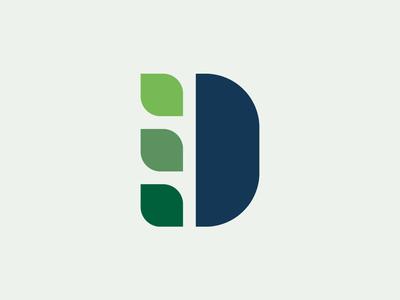 D + Leaf Logo Concept brand identity logo design brand letter leaf nature typography monogram logo design branding
