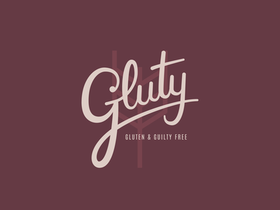 Gluty identidy logotype calligraphy branding snack pantone typography icon design logo