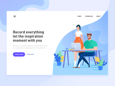 Webpage:Create New Note office modelling character ux flat branding web ios11 illustration ui colour