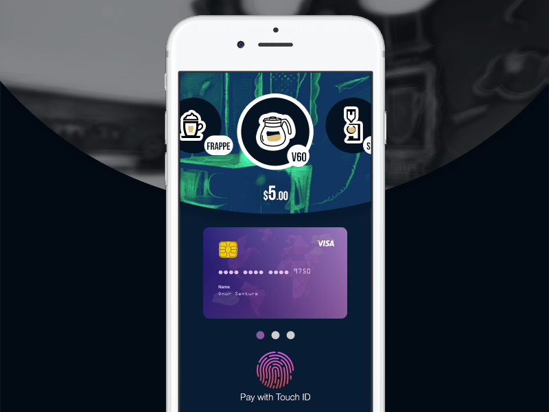 Daily UI Challange No.2 - CC Checkout coffee iphone siphon frappe v60 touch id mobile checkout credit card dailyui