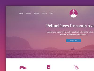 Avalon Landing primeng primefaces layout bootstrap gradient purple avalon landing page