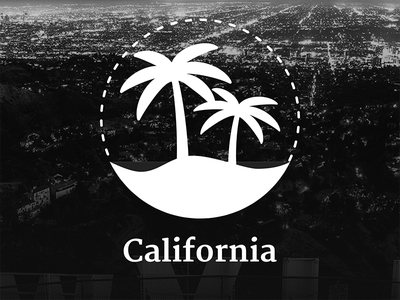California Logo white black primeng primefaces logo hollywood palm icon branding california
