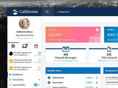 California Theme & Layout web menu theme template layout enterprise design dashboard crm uswds california admin