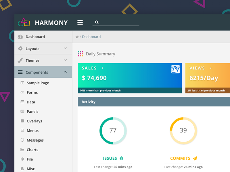 Harmony dashboard dribbble