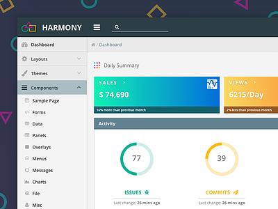 Harmony Theme & Layout primeng primefaces angular template theme layout enterprise design dashboard crm harmony admin
