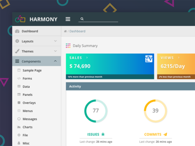 Harmony Theme & Layout primeng primefaces angular template theme layout enterprise design dashboard crm harmony admin