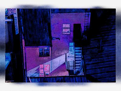 One urban manipulation brush cyan purple artwork art illustrator painting one building illustration