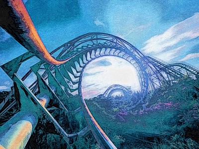 Roller Coaster landscape fairground purple artwork art illustration painting roller coaster