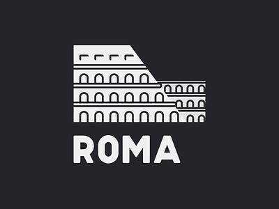 Roma Logo design black white colosseum primevue primereact primeng primefaces vector roma logo icon brading