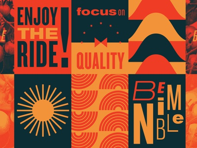 Guiding Principles empowering inspiration fun pasta sunburst enjoy the ride quality nimble tile pattern navy red orange typography playful bold branding illustration type