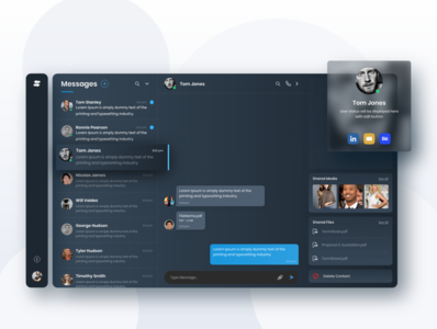 Dark Theme Chat App web app messages profile chat app