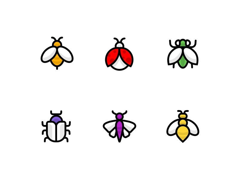 Bugs icons icon style icon design minimalist icon icons insects wasp moth beetle fly ladybird bee icon set bugs flat design ui