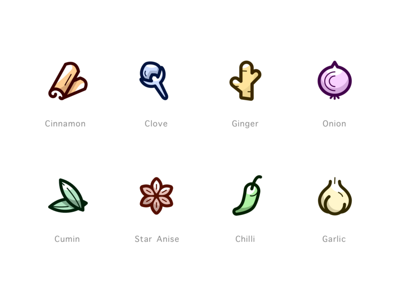 Herbs & Spices ginger thicklines line icons color icons iconset icons garlic chilli staranise cumin onion clove cinnamon
