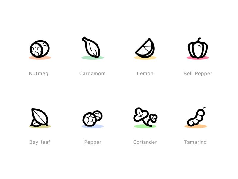Herbs & Spices Set 2 iconset icons herbs spices tamarind coriandar pepper bay leaf bell pepper cardamom lemon nutmeg