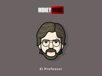 Money Heist - El Professor la casa de papel bella ciao faces art tv series poster netflix portrait character design character avtar vector illustration el professor money heist