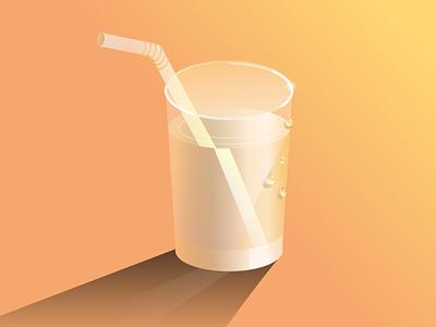 Lemon water straw water sun rays sunset fresh sour sun lemonade summer lemon water illustraion vector art deco