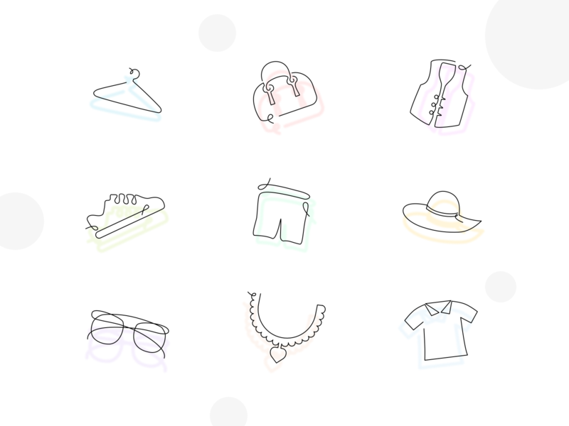Clothing oneline Icons shorts shoes hat tshirt necklace spectacles waistcoat bag hanger cloths line icon icons design icons oneline handdrawn