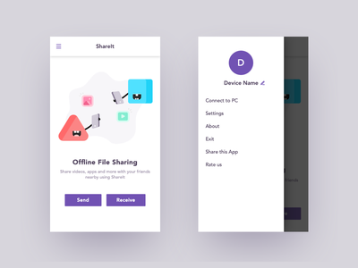 File Sharing App file share interface android app design android app character icons uxdesign ux ui