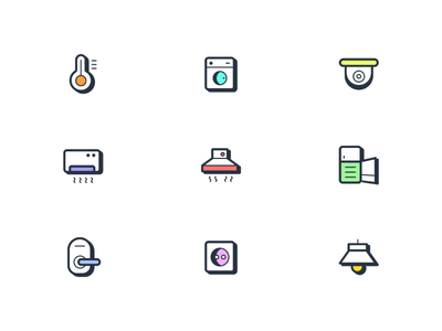 iOT Smart Device Icons 🏠 lightbulb icons iconography icondesign ui doornob refrigerator plug aircondition cam washingmachine thermometer smartdeviceicons iconpack iconset dribbblers devices